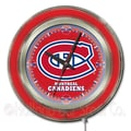Holland Bar Stool NHL 15'' Double Neon Ring Logo Wall Clock; Montreal Canadiens