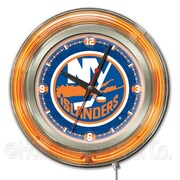 Holland Bar Stool NHL 15'' Double Neon Ring Logo Wall Clock; New York Islanders