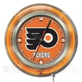Holland Bar Stool NHL 15'' Double Neon Ring Logo Wall Clock; Philadelphia Flyers