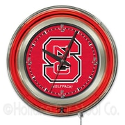 Holland Bar Stool NCAA 15'' Double Neon Ring Logo Wall Clock; North Carolina State