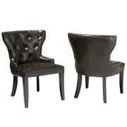 Home Loft Concept Emmanuel Leather Accent Chairs (Set of 2)