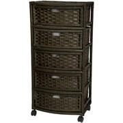 Oriental Furniture 5-Drawer Storage Chest; Black