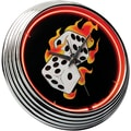 On The Edge Marketing Flames 14.75'' Dice Neon Wall Clock