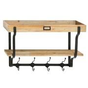 Woodland Imports Multi Level Wall Shelf with Coat Rack