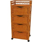 Oriental Furniture Natural Fiber 4 Drawer Accent Chest; Honey