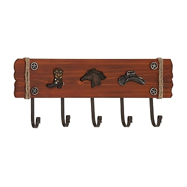 Woodland Imports Stylish Cowboy Themed Wood and Metal Wall Hook