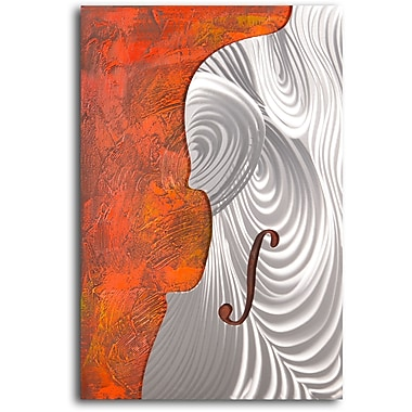 My Art Outlet 'Metallic Cello Form' Original Painting on Wrapped Canvas