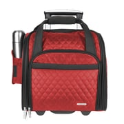 Travelon 14'' Rolling Underseat Quilted Microfiber Carry On; Red