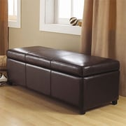 Simpli Home Avalon Large Rectangular Storage Ottoman; Brown