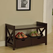 InRoom Designs Storage Entryway Bench; Cherry