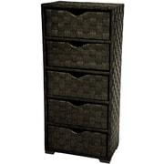 Oriental Furniture Natural Fiber Chest of 5 Drawer; Black