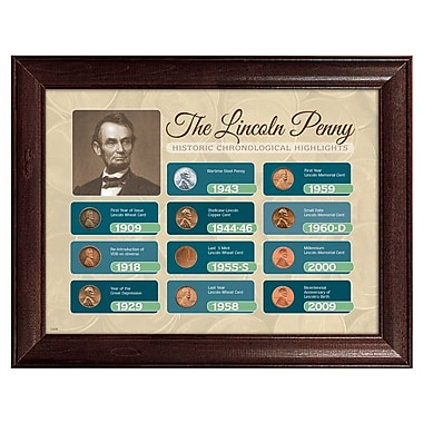 American Coin Treasure The Lincoln Penny Historical Chronological Highlight Framed Memorabilia