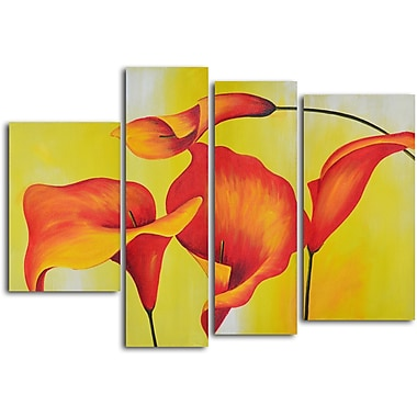 My Art Outlet 'Consultation of Amber Lilies' 4 Piece Original Painting on Wrapped Canvas Set
