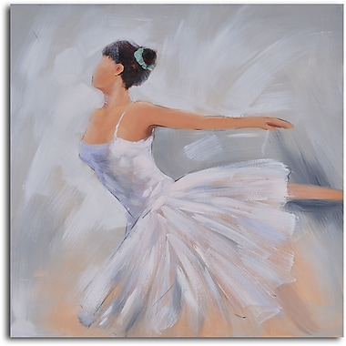 My Art Outlet 'Ballerina in White' Original Painting on Wrapped Canvas