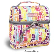 J World Corey Lunch Bag; Squares Neon