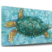 My Island Sea Turtle Mounted by Gerri Hyman Painting Print on Canvas; 24'' H x 36'' W x 1'' D