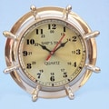 Handcrafted Model Ships 8'' Nautical Double Dial Wheel Wall Clock