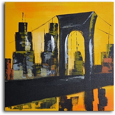 My Art Outlet Bridge and Towers Painting Print on Wrapped Canvas