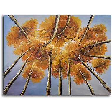 My Art Outlet 'Golden Treetop' Painting Print on Wrapped Canvas