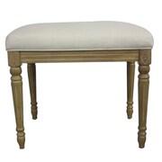 Elegant Home Fashions Tiffany Upholstered Vanity Bench; Stress White / Snow