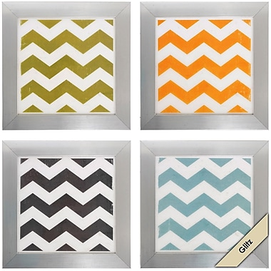 Propac Images Chevron Framed Graphic Art (Set of 4)