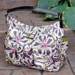 Amy Michelle Lotus Diaper Bag; Charcoal Floral with Green Lining
