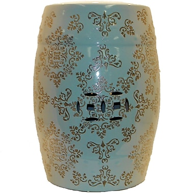 Urban Trends Ceramic Garden Stool; Blue and Bronze
