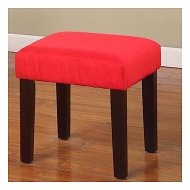 InRoom Designs Square Child Vanity Stool; Red