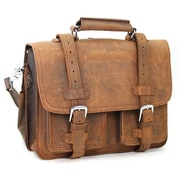 Vagabond Traveler 16'' CEO Leather Briefcase and Backpack Tote; Brown