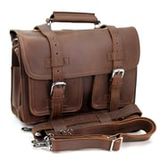 Vagabond Traveler 16'' CEO Leather Briefcase and Backpack Tote; Reddish Brown