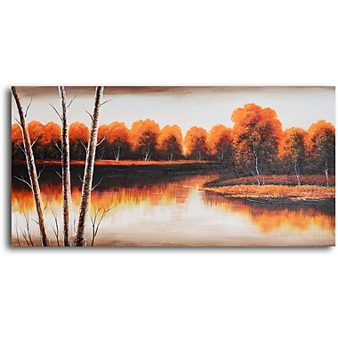 My Art Outlet 'Tranquil Lake Golden Shore' Original Painting on Wrapped Canvas