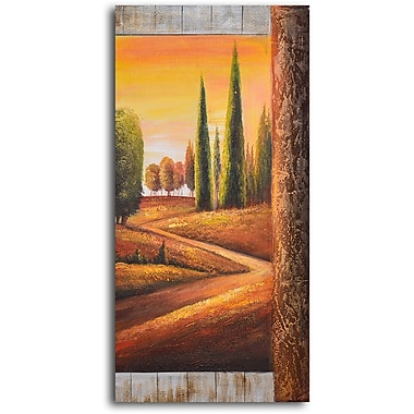 My Art Outlet Sunlit Poplars Original Painting on Wrapped Canvas