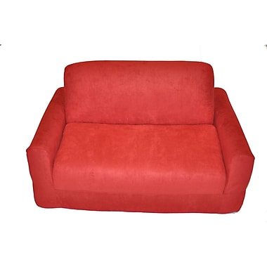 Fun Furnishings Micro Suede Kid's Sofa Sleeper; Red