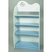 Gift Mark 47'' Bookcase with Clock; Blue & White