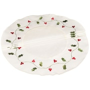 Xia Home Fashions Classic Holly Embroidered Cutwork Round Holiday Doily (Set of 4)