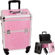 Sunrise Cases Crocodile Pattern Professional Rolling Cosmetic Makeup Case; Pink Crocodile