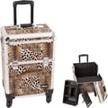 Sunrise Cases Leopard Pattern Interchangeable Professional Rolling Cosmetic Makeup Train Case