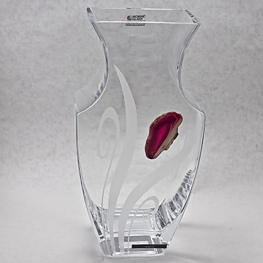 Womar Glass Agate Precious Stone Series Vase; Red