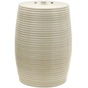Oriental Furniture Ribbed Porcelain Garden Stool; Beige