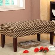Kinfine Decorative Storage Entryway Bench; Chocolate / Tan Chevron