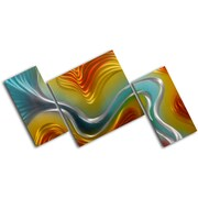 My Art Outlet Geometric Colored Ripples 3 Piece Original Painting Plaque Set