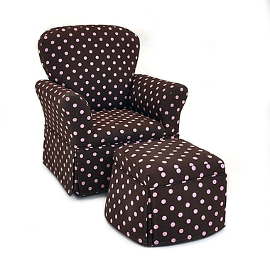 KidzWorld Polka Dot Kelso Maggie Skirted Kid's Rocking Chair and Ottoman Set; Maroon and Pink