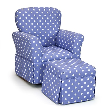 KidzWorld Polka Dot Kelso Maggie Skirted Kid's Rocking Chair and Ottoman Set; Lilac and White