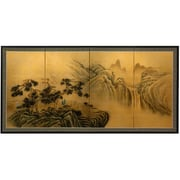 Oriental Furniture Mountaintop Waterfall on Gold Leaf Framed Original Painting