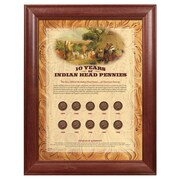 American Coin Treasure 10 Years of Indian Head Pennies Wall Framed Memorabilia