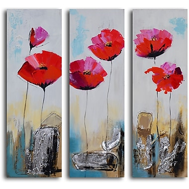 My Art Outlet 'Poppy Rocks' 3 Piece Original Painting on Wrapped Canvas Set