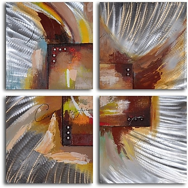 My Art Outlet 'Four Square Steel Splash' 4 Piece Original Painting on Wrapped Canvas Set