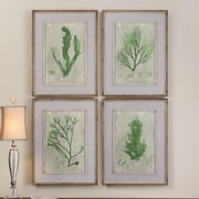 Uttermost Emerald Seaweed by Grace Feyock 4 Piece Framed Painting Print Set