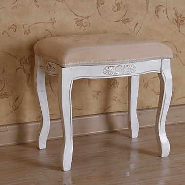 International Caravan Windsor Hand Carved Antique White Vanity Stool