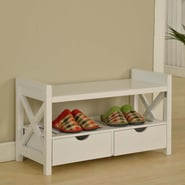 InRoom Designs Storage Entryway Bench; White